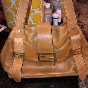 Fendi tanned leather Logos satchel